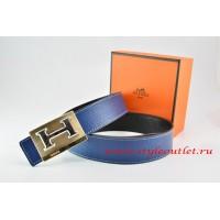 Hermes Dark Blue/Black Leather Men Reversible Belt 18k Gold Big H Buckle