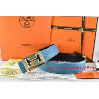 Hermes Blue/Black Leather Men Reversible Belt 18k Gold Big H Buckle