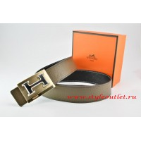 Hermes Light Gray/Black Leather Men Reversible Belt 18k Gold Big H Buckle