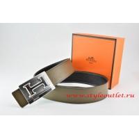 Hermes Light Gray/Black Leather Men Reversible Belt 18k Silver Big H Buckle
