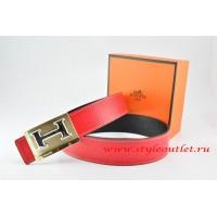 Hermes Red/Black Leather Men Reversible Belt 18k Gold Big H Buckle