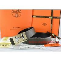 Hermes Brown/Black Leather Men Reversible Belt 18k Gold Big H Buckle