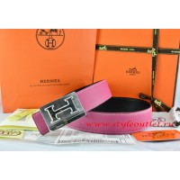 Hermes Pink/Black Leather Men Reversible Belt 18k Silver Big H Buckle