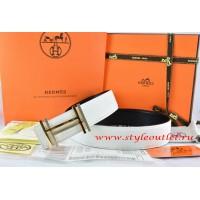 Hermes White/Black Leather Men Reversible Belt 18k Gold Double H Buckle