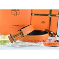Hermes Orange/Black Leather Men Reversible Belt 18k Silver Double H Buckle