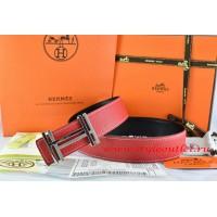 Hermes Red/Black Leather Men Reversible Belt 18k Silver Double H Buckle