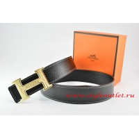 Hermes Black/Black Leather Men Reversible Belt 18k Gold Bamboo Stripe H Buckle