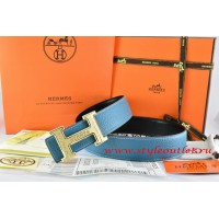 Hermes Blue/Black Leather Men Reversible Belt 18k Gold Bamboo Stripe H Buckle