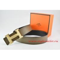 Hermes Light Gray/Black Leather Men Reversible Belt 18k Gold Bamboo Stripe H Buckle