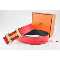 Hermes Red/Black Leather Men Reversible Belt 18k Gold Bamboo Stripe H Buckle