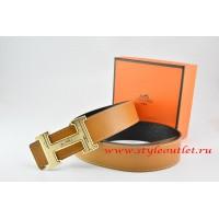 Hermes Light Coffe/Black Leather Men Reversible Belt 18k Gold Geometric Stripe H Buckle