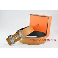 Hermes Light Coffe/Black Leather Men Reversible Belt 18k Silver Geometric Stripe H Buckle