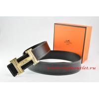 Hermes Black/Black Leather Men Reversible Belt 18k Orange Gold Geometric Stripe H Buckle