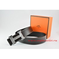 Hermes Black/Black Leather Men Reversible Belt 18k Silver Geometric Stripe H Buckle