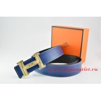 Hermes Dark Blue/Black Leather Men Reversible Belt 18k Gold Geometric Stripe H Buckle