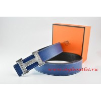 Hermes Dark Blue/Black Leather Men Reversible Belt 18k Silver Geometric Stripe H Buckle