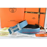 Hermes Blue/Black Leather Men Reversible Belt 18k Silver Geometric Stripe H Buckle
