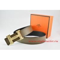 Hermes Light Gray/Black Leather Men Reversible Belt 18k Gold Geometric Stripe H Buckle