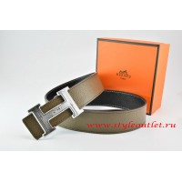 Hermes Light Gray/Black Leather Men Reversible Belt 18k Silver Geometric Stripe H Buckle