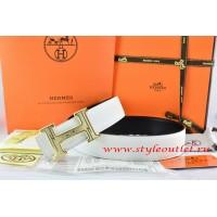 Hermes White/Black Leather Men Reversible Belt 18k Gold Geometric Stripe H Buckle