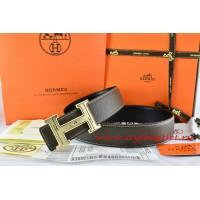 Hermes Brown/Black Leather Men Reversible Belt 18k Gold Geometric Stripe H Buckle