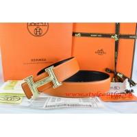 Hermes Orange/Black Leather Men Reversible Belt 18k Gold Geometric Stripe H Buckle