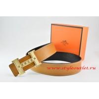Hermes Light Coffe/Black Leather Men Reversible Belt 18k Gold Weave Stripe H Buckle