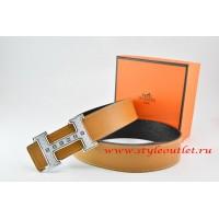 Hermes Light Coffe/Black Leather Men Reversible Belt 18k Silver Weave Stripe H Buckle