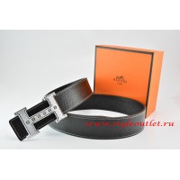 Hermes Black/Black Leather Men Reversible Belt 18k Silver Weave Stripe H Buckle