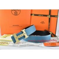 Hermes Blue/Black Leather Men Reversible Belt 18k Gold Weave Stripe H Buckle