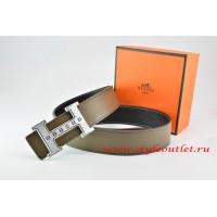 Hermes Light Gray/Black Leather Men Reversible Belt 18k Silver Weave Stripe H Buckle