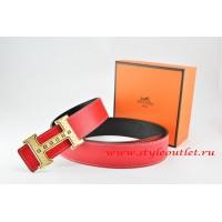 Hermes Red/Black Leather Men Reversible Belt 18k Gold Weave Stripe H Buckle