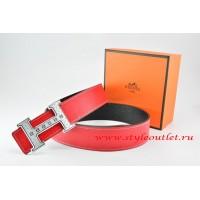 Hermes Red/Black Leather Men Reversible Belt 18k Silver Weave Stripe H Buckle