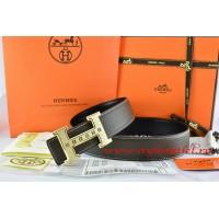 Hermes Brown/Black Leather Men Reversible Belt 18k Gold Weave Stripe H Buckle