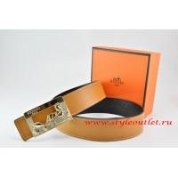 Hermes Light Coffe/Black Leather Men Reversible Belt 18k Gold Coach H Buckle