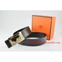 Hermes Black/Black Leather Men Reversible Belt 18k Orange Gold Coach H Buckle