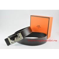 Hermes Black/Black Leather Men Reversible Belt 18k Silver Coach H Buckle