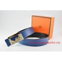 Hermes Dark Blue/Black Leather Men Reversible Belt 18k Gold Coach H Buckle