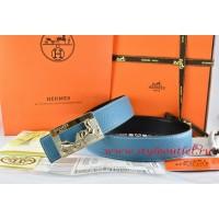 Hermes Blue/Black Leather Men Reversible Belt 18k Gold Coach H Buckle
