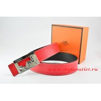 Hermes Red/Black Leather Men Reversible Belt 18k Silver Coach H Buckle
