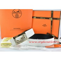 Hermes White/Black Leather Men Reversible Belt 18k Gold Coach H Buckle