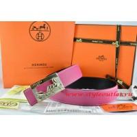 Hermes Pink/Black Leather Men Reversible Belt 18k Gold Coach H Buckle