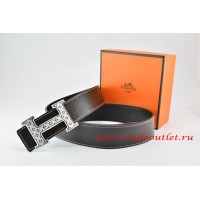 Hermes Black/Black Leather Men Reversible Belt 18k Silver Speckle H Buckle