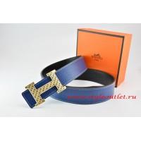 Hermes Dark Blue/Black Leather Men Reversible Belt 18k Gold Speckle H Buckle