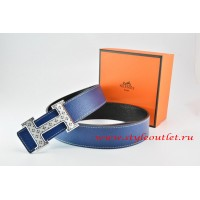 Hermes Dark Blue/Black Leather Men Reversible Belt 18k Silver Speckle H Buckle