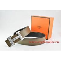 Hermes Light Gray/Black Leather Men Reversible Belt 18k Silver Speckle H Buckle