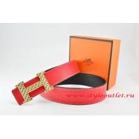 Hermes Red/Black Leather Men Reversible Belt 18k Gold Speckle H Buckle