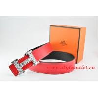 Hermes Red/Black Leather Men Reversible Belt 18k Silver Speckle H Buckle