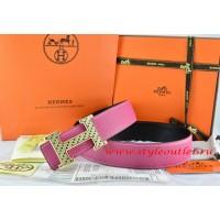 Hermes Pink/Black Leather Men Reversible Belt 18k Gold Speckle H Buckle