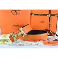 Hermes Orange/Black Leather Men Reversible Belt 18k Gold Speckle H Buckle